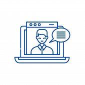 Online Video Course Line Icon Concept. Online Video Course Flat  Vector Symbol, Sign, Outline Illust poster