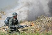 foto of flamethrower  - German soldier with flame - JPG