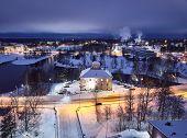 Aerial View Of Evening City Joensuu In Winter, Finland. Evening View Of The Ilosaari Island poster