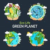 Set Of Isolated Planets For Earth Day Concept. Hands Holding Planet With Eco Environment, Solar Batt poster