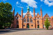 Hospital Of The Holy Spirit Is One Of The Oldest Social Institutions Of Lubeck City In Germany poster