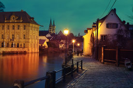 foto of regnitz  - Regnitz quay Schloss Concordia and Imperial cathedral in evening - JPG
