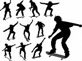 Silhouettes Of Some Skateboarders