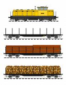 Freight train loaded with wood trunks.