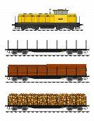 Tren de carga cargados de troncos de madera.