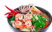 Tom Yum Goong or spicy tom yum soup with shrimp poster