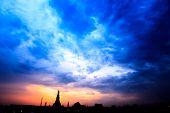 Cityscape Of Wat Arun Temple Bangkok In  Dusk