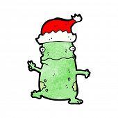 cartoon frog in santa hat
