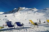 Chairs on the ski piste in Hintertux Gletcher, Austria
