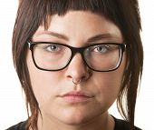 picture of nose ring  - Close up of young woman with nose ring and eyeglasses - JPG