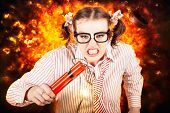 stock photo of time-bomb  - Angry Business Person Running With Stick Of Dynamite From A Exploding Fire Bomb While Under Explosive Stress - JPG