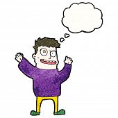 foto of hallucinations  - cartoon hallucinating man with thought bubble - JPG