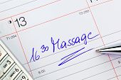 a date is entered in a calendar: massage