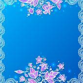 Blue and violet doodle flowers card