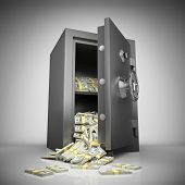Bank safe with money stacks