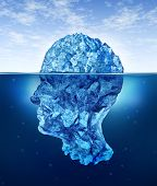 stock photo of iceberg  - Human brain risks with an iceberg in the shape of a head partialy submerged in the cold arctic ocean as a health care medical symbol for hidden neurological and psychological symptoms - JPG