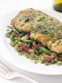 Cotoletta Of Veal With Green Beans Peas And Pancetta
