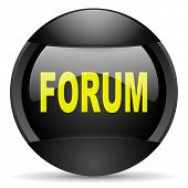 forum round black web icon on white background