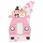 Wedding couple on car driving to their honeymoon.
