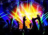 Rock concert, happy people silhouettes, raise up hands, disco party with large group of dancing man,