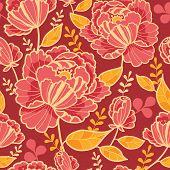 Fall garden vertical seamless pattern background border