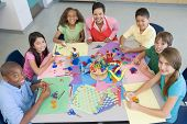 image of pre-adolescent child  - Teacher and students in art class - JPG