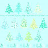 Cute retro abstract Christmas trees card