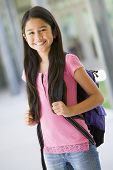 Student Standing Outside School Smiling (Selective Focus)