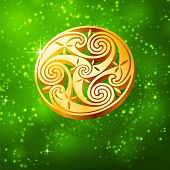 image of triskele  - Magic golden 3D triskel on green background - JPG