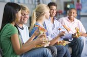 stock photo of hair integrations  - Students having lunch - JPG