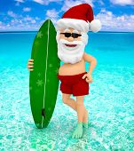 3D Santa enjoying his holidays at the beach