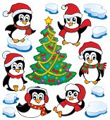 Cute penguins collection 4 - vector illustration.