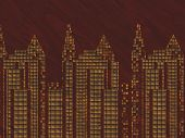 Cityscape Laquered Woodcut Or Marquetry