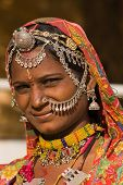 image of rajasthani  - Portrait of a India Rajasthani woman close up - JPG