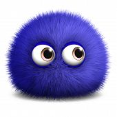 foto of monster symbol  - 3 d cartoon cute furry ball monster - JPG
