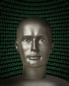 Robot Android With Human Eyes In Front Of A Field Of Binary Code