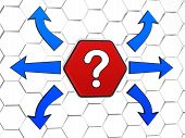 Question-mark Sign With Arrows In Red Hexagon