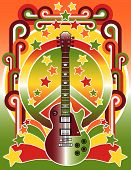 stock photo of woodstock  - An illustration of a guitar peace symbol and stars in 60s - JPG