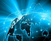 stock photo of globalization  - Blue vivid image of globe - JPG