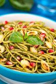 Spaghetti with Pesto, Pomegranate and Almonds