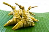 Sticky Rice Wrapped In Leaves.