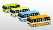 Four Colored Buses