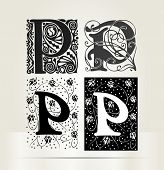 Vector ornamental letter P sign