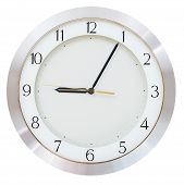 image of arabic numerals  - nine o clock and five minutes on the clock face round wall clock - JPG