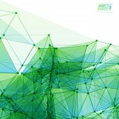 3D Green and Blue Abstract Mesh Background with Circles, Lines and Shapes | EPS10 Design Layout for