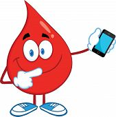 Red Blood Drop Character Pointing To A Mobile Phone