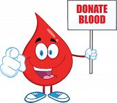 Red Blood Drop Character Holding Up A Blank Sign With Text