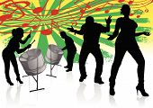 foto of reggae  - Vector illustration of two Steel Drum Players in Silhouettes - JPG
