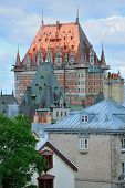 Chateau Frontenac in the day with cloud and blue sky in Quebec City with roof