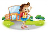 Illustration of a girl going home from school on a white background